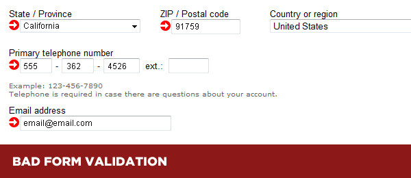 Bad form validation example - A Web Form Design mistakes not to make